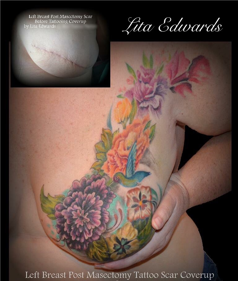 Floral Art Scar Coverage Breast Mastectomy Tattoo