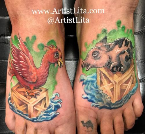 pig and chicken feet tattoo