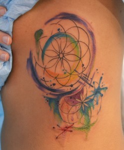 symetry circle watercolor broken abstract rib tattoo for women