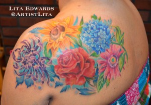 realistic flower shoulder half sleeve for woman tattoo full color color queen
