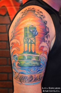 half sleeve ocean buoy memorial tattoo
